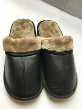 NEW Mens Slide Slippers Faux Leather Fur Lined Cushioned Warm Shoes Sz: 7/8 - 13