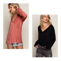 POL Good to Go Basic Knit Top in Black & Brick Red NWT S M L