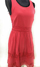 Lauren Conrad LC American Beauty Dress Size 8 Red Lace Trim Fit And Flare