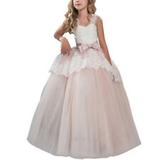 Flower Girl Dress Communion Party Prom Lace Gown for Kids Wedding Bridesmaid