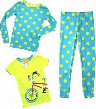 CARTERS Girls 3 Piece PYJAMAS Set BLUE LIME Sleepwear PJs Bicycle  | 4 Years