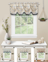 Country Farmhouse Plaid Tattersall Button Tuck Window Valance - Assorted Colors
