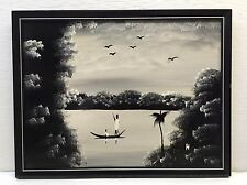 African Black & White Painting Small Boat on River Scene