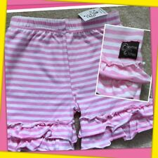NWT Girls 2T CREATIVE CUTIES pink & white STRIPED SHORTIES double RUFFLES