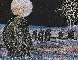 """ACEO Original """"Avebury at Night"""" Painting - By Hélène Howse"""