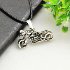 Gothic Punk Skeleton Motorcycle Stainless Steel Silver Chain Pendant Necklace