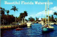 Postcard FL Florida Waterways Boats Lake River Palm Trees
