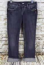 SIlver Santorini Jeans Women's Size 27 Low Rise Slim Cropped Capri Black Denim