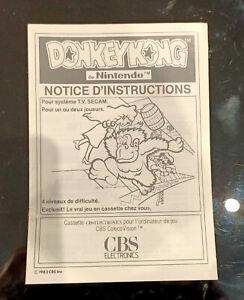 Notice , Jeu CBS Colecovision Donkey Kong