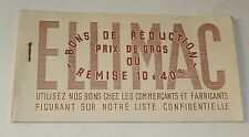 Ancien CHEQUIER de BONS de REDUCTION PRIX de GROS - ELLIMAC