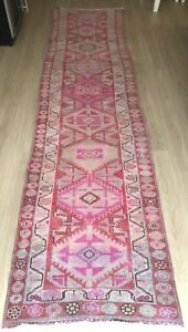 "Turkish Wool Runner, Vintage Hand Knotted Soft Pile 11'5""x 2'8"", FREE SHIPPING!"