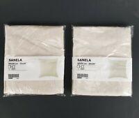 "(Lot of 2) Ikea Sanela Pillow Cushion Cover 20"" x 20"" Velvet Cotton Beige New"