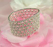 Ampia D'Argento Tono Quadrato Cut-Out Chiaro Diamante Strass Cristallo Bracciale