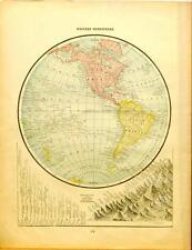 Beautiful Original 1899 Western Hemisphere Large Color Map/10x14