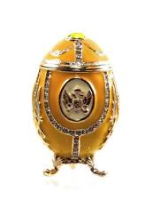 Yellow Faberge Easter Egg Trinket Box with Swarovski Crystals by Keren Kopal