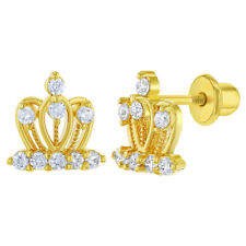 18k Yellow Gold Plated Crown Clear Crystal Girls Children Screw Back Earrings