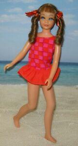 SKIPPER Sausage Curl 1969 Twist 'n Turn Brown hair Vintage Mod doll w/ swimsuit