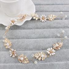 Wedding Bridal Headband Crystal Pearl Floral Hair Accessories Headband