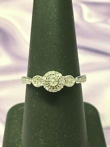 Sterling Silver .925 Diamond Halo Engagement or Fashion Ring Sz 6.75  6 3/4