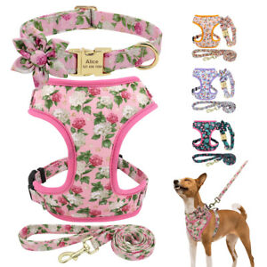 3pcs Floral Personalised Dog Collar and Lead with Soft Mesh Vest Harness XS-L