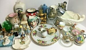 Vintage Glass Ceramic Knick Knack Junk Drawer Lot Vase Mug Pottery Plate Figures