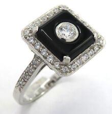 Art Deco anello onice ZIRCONIA ARGENTO 925 taglia 54