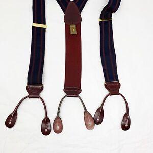 Barely Worn! Trafalgar Suspenders Braces burgundy and Blue Striped classic