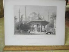 Vintage Print,COURT+FOUNTAIN ST.SOPHIA,Engraving,WH.Bartlett,Turkey+Greace