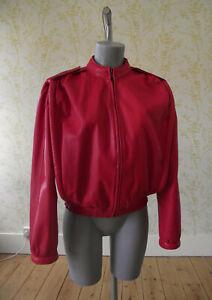 True 80s VINTAGE red leather boxy blouson style zip front jacket UK 12-14
