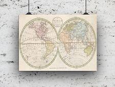 Mapa del mundo vintage impresión 280GSM papel de satén, estudio de dormitorio de casa.. A4 educativo