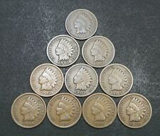 1900,1901,1902,1903,1904,1905,1906,1907,1908,1909 Indian Cents Good+ (10) Coins