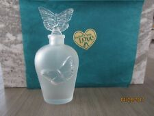 Vintage Frosted Glass Perfume Bottle with Butterfly Stopper, H 6 1/2""