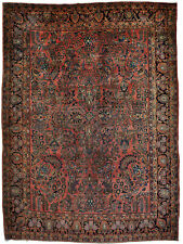 Antique rug / carpet hand knotted red and brown Sarough (268 X 365 cm)