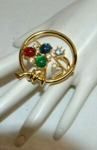 Joan Rivers Collection Circle Brooch/Pin with Multi -Colored Stones