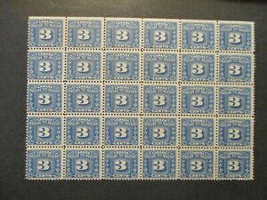 1934 Canada S#FX34 3c blue Excise Tax stamps 3leaf (A/B in corners) block of 30