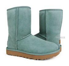 UGG Classic Short II Sea Green Suede Fur Boots Womens Size 8 ~NIB~
