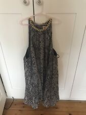 TOPSHOP DRESS UP GREY SNAKESKIN FLOWY DRESS SIZE UK 12