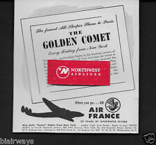 AIR FRANCE 1948 FAMED GOLDEN COMET ALL SPEEPER CONSTELLATION FRIDAY IDL-PARIS AD