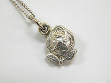 """Vintage Sterling Silver Miraculous Medal Rose Locket 16"""" Cable Chain Virgin Mary"""