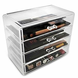 Acrylic Cosmetics Makeup and Jewelry Storage Case Display 4 Large Drawers Space