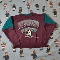 VTG 90s Mighty Ducks Anaheim Youth 6/7 Crewneck Sweatshirt Hockey Purple Teal