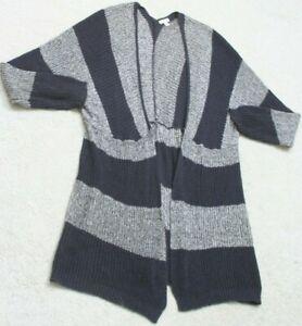 Cardigan Sweater Top Gray White Long Sleeve BP. Size Small Cotton Acrylic Nylon