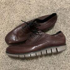 NEW Men Cole Haan Zerogrand Wingtip Oxford Shoe Burnished Wine Leather 12 C30279