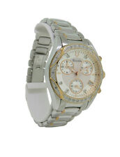 Bulova Diamond 98R149 Women's Round Silver Tone Chronograph Date Analog Watch