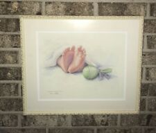 Vintage Original Baby Feet Watercolor Painting Sign Rita Pelot GA Artist Framed