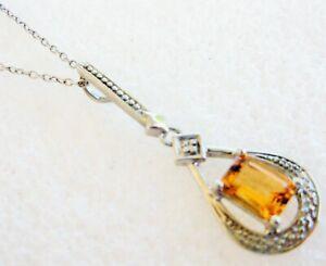 GENUINE CITRINE & DIAMOND STERLING SILVER PENDANT NECKLACE