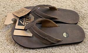 Mens Reef Marbea Brown Leather Thong Waterproof Slip-on Flip Flops Size 9 NEW