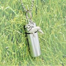 Border Collie Ashes Holder Necklace | Cylinder Urn and Charm | Keepsake Jewelry