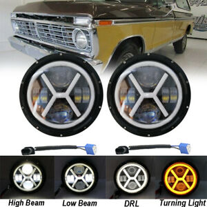 "2xFor Ford Bronco 66-78 280W 7"" Round LED Headlights Hi/Lo Beam Turn Signal DRL"