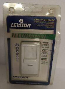 Leviton 5 Amp Decora IllumaTech Fan Speed Control IPF05-1LW White NEW NOS
